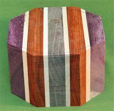 "Bowl #444 - Padauk, Purpleheart, Walnut & Maple Segmented Bowl Blank ~ 5 1/4"" x 3 1/4"" ~ $24.99"