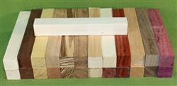 "Blank #316 - Pen Turning Blanks, Lot of 25, 11 Different Exotic Hardwoods,  Large Size, 7/8"" x 7/8"" x 6+"" ~ $24.99"