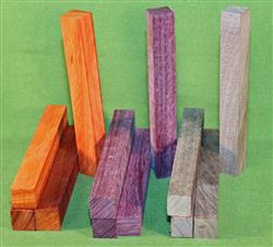 "Blank #320 - Pen Turning Blanks, Purpleheart, Padauk & Black Walnut, Set of 12, 4 Each ~ 3/4"" x 3/4"" x 6+"" ~ $14.99"