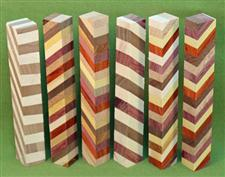 "Blank #370 - Segmented Pen Turning Blanks, Assorted Exotic Hardwoods, Set of 6,  3/4"" x 3/4"" x 5 1/2+"" ~ $18.99"
