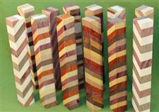"Blank #375 - Segmented Pen Turning Blanks, Assorted Exotic Hardwoods, Set of 12,  3/4"" x 3/4"" x 5 1/2+"" ~ $29.99"