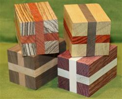 "Blank #744 - Four Segmented Turning Blanks ~ 2"" x 2"" x 3 1/4"" ~ $24.99"