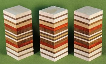 "Blank #740 - Segemented Striped Blanks - 3 Each Assorted ~ 1 1/2"" x 1 1/2"" x 3 3/4"" ~ $17.99"