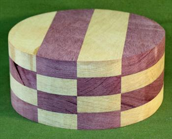 "Bowl #470 - Purpleheart & Yellowheart Checkerboard Segmented Bowl Blank ~ 8"" x 3 1/2"" ~ $47.99"