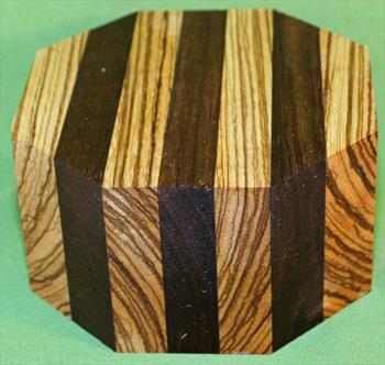 "Bowl #613 - Zebrawood & Peruvian Walnut Striped Segmented Bowl Blank ~ 6"" x 3 1/4"" ~ $37.99"