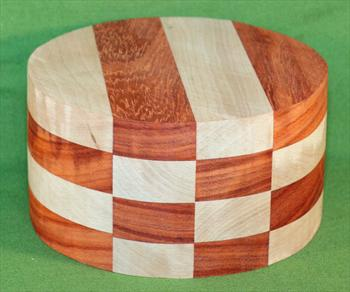 "Bowl #664 - Padauk & Cherry Checkerboard Segmented Bowl Blank ~ 6"" x 3 1/2"" ~ $34.99"