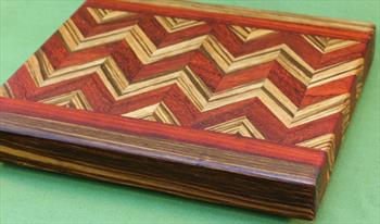 "Board #945  Padauk & Zebrawood Wave Edge Grain Cutting Board 12 1/2"" x 10 1/2"" x 1 1/2"" - $64.99"