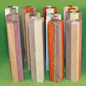 "Blank #321 - Segmented Pen Turning Blanks, Assorted, Set of 12 ~ 7/8"" x 7/8"" x 5 1/2+"" ~ $22.99"