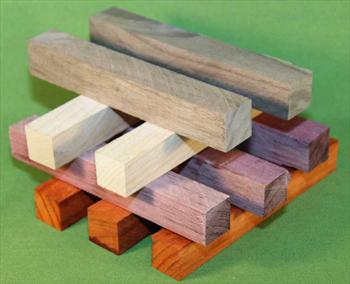 "Blank #324 - Pen Turning Blanks, Padauk, Cherry, Purpleheart & Black Walnut, Set of 10, ~ 7/8"" x 7/8"" x 6+"" ~ $13.99"