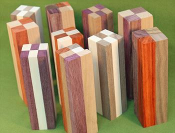 "Blank #730 - Segemented Striped Blanks - Set of 5 ~ 1 1/2"" x 1 1/2"" x 5 1/2"" ~ $21.99"