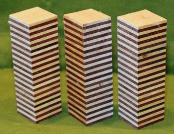 "Blank #739 - Purpleheart & Maple Striped Blanks - 3 Blanks ~ 1 1/4"" x 1 1/4"" x 4 1/2"" ~ $14.99"
